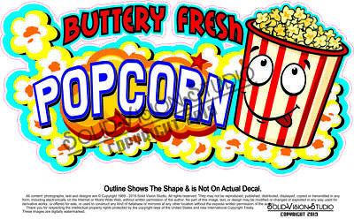 Popcorn Fresh Buttery Concession Food Truck Cart Menu Sign Sticker Vinyl Decal