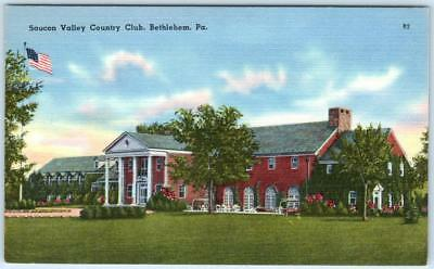 BETHLEHEM, Pennsylvania  PA    SAUCON VALLEY COUNTRY CLUB  c1940s Linen Postcard - Bethlehem Georgia