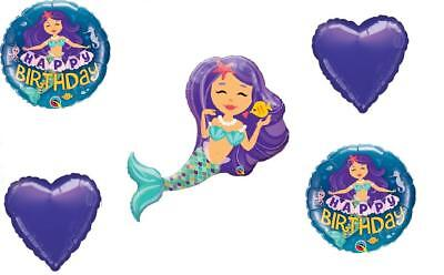 5 pc Purple MERMAID Happy Birthday Balloon Bouquet Heart Sea FREE SHIPPING