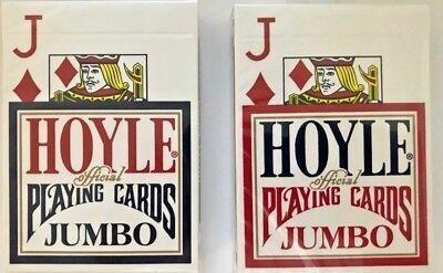 Hoyle Poker Jumbo Index Playing Cards - 2 Deck Set (1) Red & (1) Blue Hoyle Poker Deck