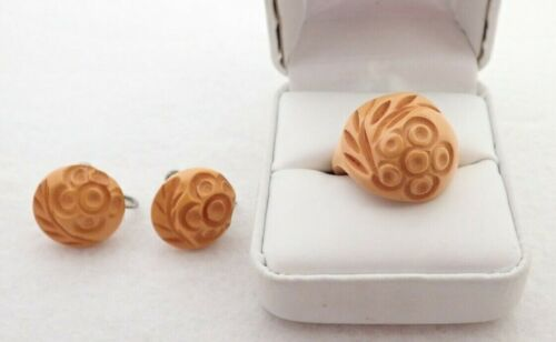 Vintage Deeply Carved Butterscotch BAKELITE Flower Ring & Earrings Matching Set