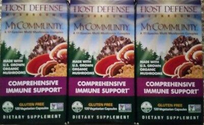 3 Host Defense My Community 120 Veggie Caps Per Box Immune Support FREE SHIPPING