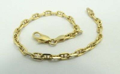 Sharp 18K YG Italian Diamond Cut Mariner Rolo link Chain Bracelet 7