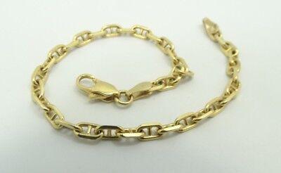 "Sharp 18K YG Italian Diamond Cut Mariner Rolo link Chain Bracelet 7"" 7 Gr A2555"