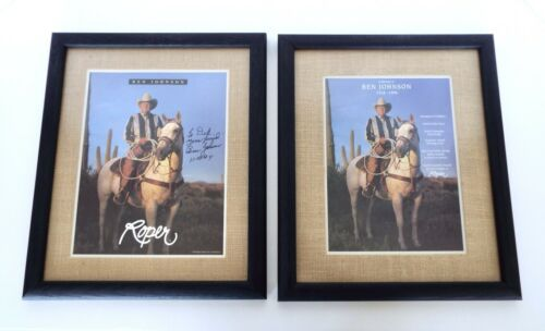 Ben Johnson Framed Autographed Photos Champion Rodeo Cowboy Actor 1994 Roper