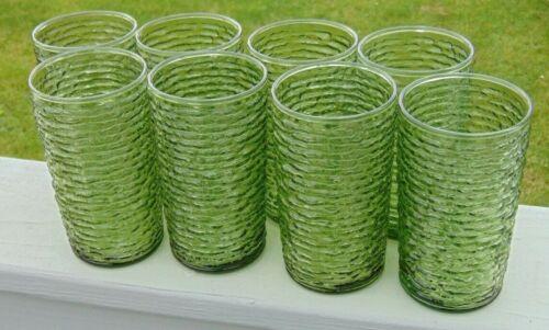 "Set Of 8 Vintage Anchor Hocking Avocado Green Soreno Glass Tumblers 5"""