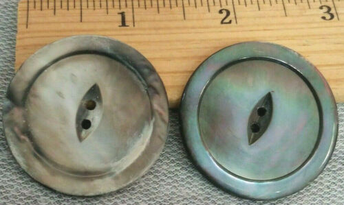 """2 x-Large 1 1/2"""" Smoky MOP Opalescent Buttons Mother of Pearl 2-hole Antique"""