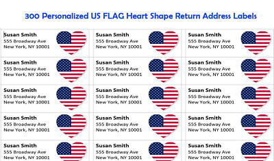 300 -custom Printed Us Flag Heart Shape Large Return Address Labels 1 X 2-58