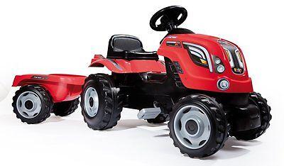 Trattore Pedalabile XL Rosso Farmer con Rimorchio Smoby 710108 bambini
