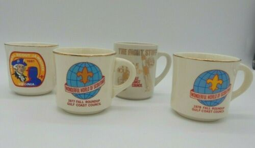 Vintage Lot of 4 Boy Scout Collectable Ceramic Mugs Gulf Coast Council 70s 80s