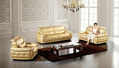 3 PC Modern Contemporary Gold Leather Sofa Loveseat Chair Living Room Couch Set