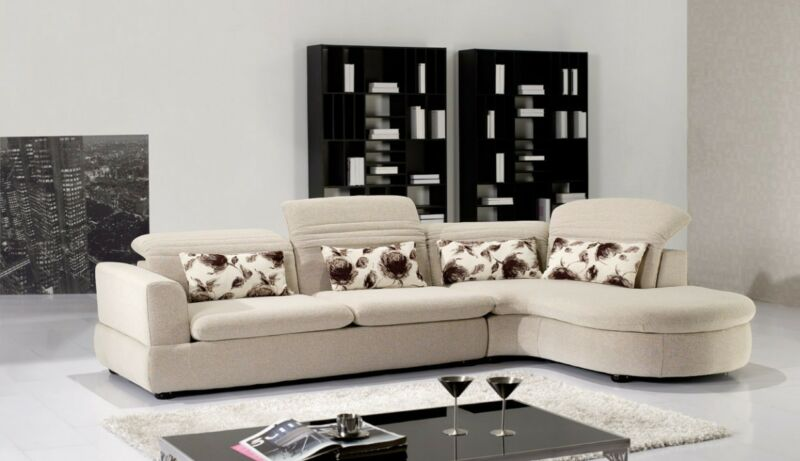 2 PC Euro Modern Ivory Contemporary Fabric Sectional Sofa Chaise Living Room Set