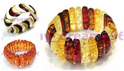 Fashion 3 Style Genuine Baltic Amber Jewelry Gems Stretchy Bracelet