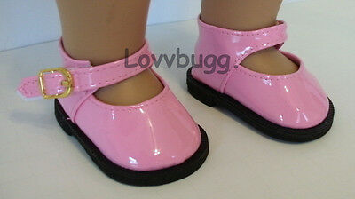 """Lovvbugg Pink Mary Janes for 18"""" American Girl or Bitty Baby Doll Shoes"""