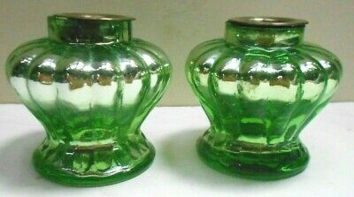 Pair of unusual Green Mercury Glass Candlesticks, perfect for a Holiday Table!