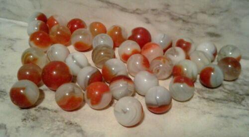 Vntg Akro Agate Lot - 40 COW EYE Red Oxblood Swirl GLASS MARBLES Carnelian