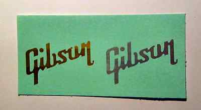 2 Top Quality Gibson Guitar Headstock Logos Waterslide Decals - Any Color!