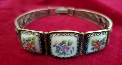 "Russian Finift Enamel Filigree Hand Painted Bracelet 7"" Long."