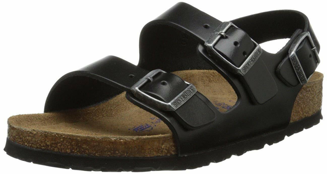 Men's Birkenstock Sandal Soft Footbed Milano Amalfi Black Leather Regular