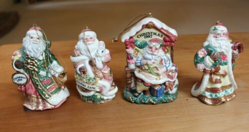 4 Fitz & Floyd Christmas Santa Ornament 1995 1996 1997 and 2001 Father Christmas