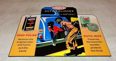 "VINTAGE DUPONT DUCO AUTO POLISHES BLACK AMERICANA BOY CAR 12"" METAL GAS OIL SIGN"
