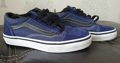 Kids Junior Vans Old Skool Off The Wall Blue Size 1 Uk