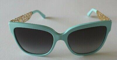 Dolce & Gabbana Metal FLOWER LACE Blue Horn Gold Cat Eye Sunglasses $350 (Dolce Gabbana Sunglasses Flower)