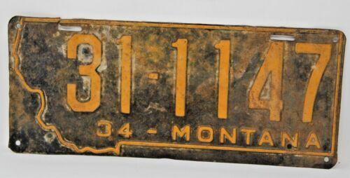 1934 MONTANA License Plate Original Automobile Collectible Vintage Antique Rare