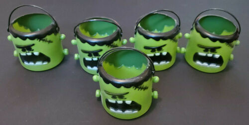 5 Mini Frankenstein Monster Halloween Candy Holder Pail Bucket Lot