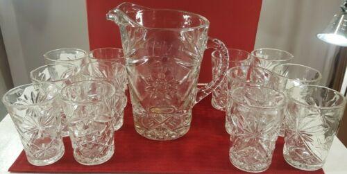 Vintage Anchor Hocking Crystal Star of David Large Pitcher & 12 Glasses