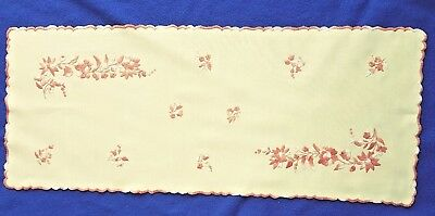 Vintage Hungarian VANILA BROWN Floral HAND EMBROIDERED table runner ARTISAN GIFT