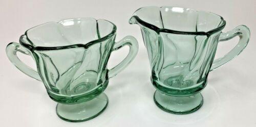 Jamestown Green Fostoria Elegant Glass Swirl 2719 Stem Creamer and Sugar 7130