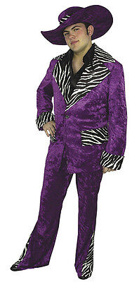 70's Pimp Fancy Dress Halloween Teen Adult Costume 2 COLORS (Mac Daddy Pimp)