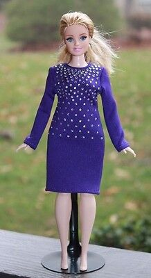 Clothes for Curvy Barbie Doll. Purple dress decorated with rhinestones for Dolls