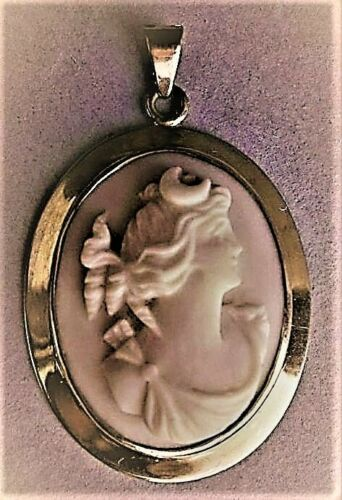 10K YELLOW GOLD ANGELSKIN CORAL CAMEO PENDANT - GODDESS DIANA - GREAT CONDITION