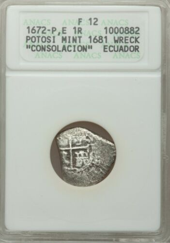 1672-P E 1 CHARLES II BOLIVIA COB SILVER 1 REALE ANACS F12 (1681 CONSOLACION SHI
