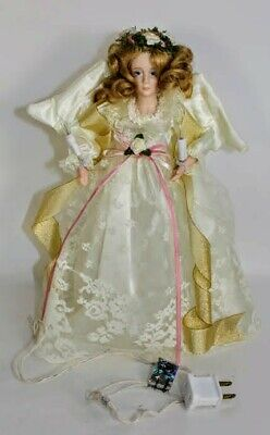 Angel Porcelain Head Faux Golden Hair Roses Lace Lighted Christmas Tree Topper