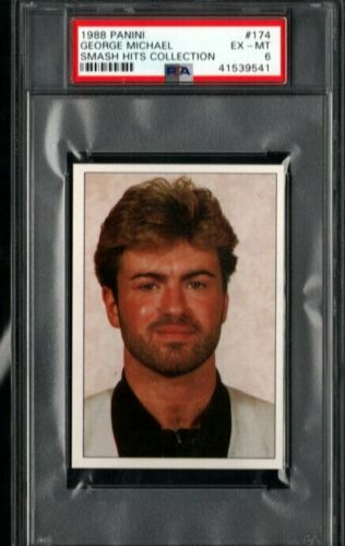 1988 GEORGE MICHAEL CARD PSA 6 PANINI SMASH HITS COLLECTION # 174 POP 1 HIGHEST