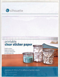 Silhouette Printable Adhesive-Backed STICKER PAPER 8/Pkg 8-1/2