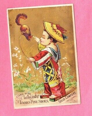 1880s VTG Victorian Asian Child Trade Card ~ Ludlows Fine Ladies Shoes