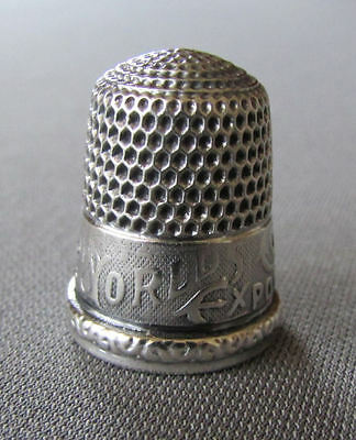 ANTIQUE Sterling Silver CHICAGO WORLD'S FAIR COLUMBIAN EXPOSITION 1892 THIMBLE