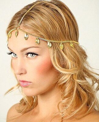 Grecian Gold Carved Leaf Flapper Crown Chain Head Hair Cascade Dress Party AG