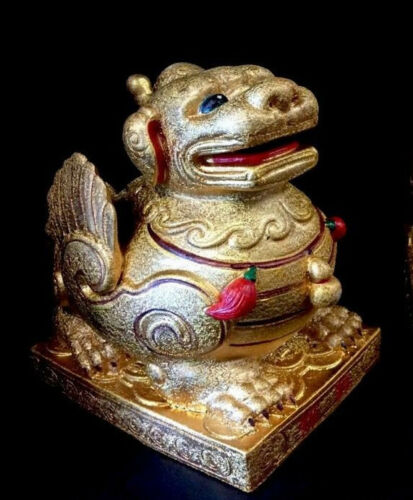 "Beautiful Chinese Kylin Gold Unicorn Lion Winged Foo Dog Statue Sculpture 10"""