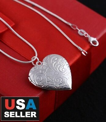 Wholesale 925 Sterling Silver Locket Lily Heart Photo Pendant Necklace 18