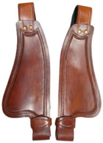 Western Natural Leather Shaped Fenders with Copper Rivets : Pony