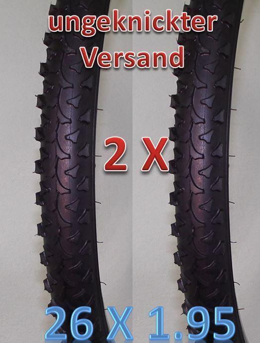 2 x Ritech Mountainbike Reifen MTB ATB 26 Zoll 26 x 1.95 50-559 +Schlauch AV