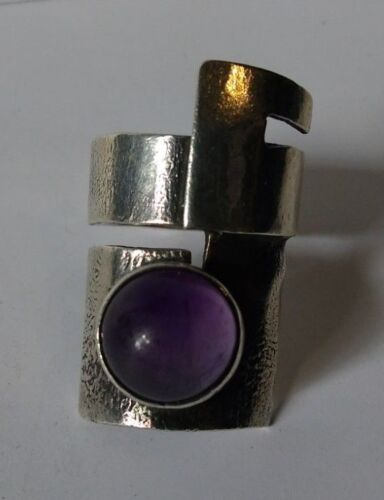 VERY COOL SIGNED VINTAGE MODERNIST GEOMETRIC 800 SILVER AMETHYST RING SIZE 8