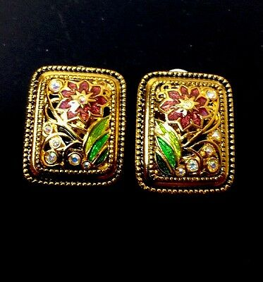 QVC Joan Rivers 14KT Gold Plated Cloisonne Flower Clip Earrings
