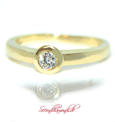 Alltagstauglicher Diamantring 750 Gold 18 kt Diamanten Solitär Brillant 0,15 ct