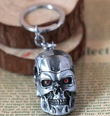 Terminator T-850 Mechanical 3D head silver 6cm Metal Keychain Keyring *